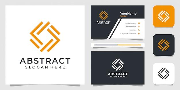 Abstraktes logo-design im strichgrafikstil. anzug von geschäft, werbung, marke, symbol, illustration und visitenkarte Premium Vektoren
