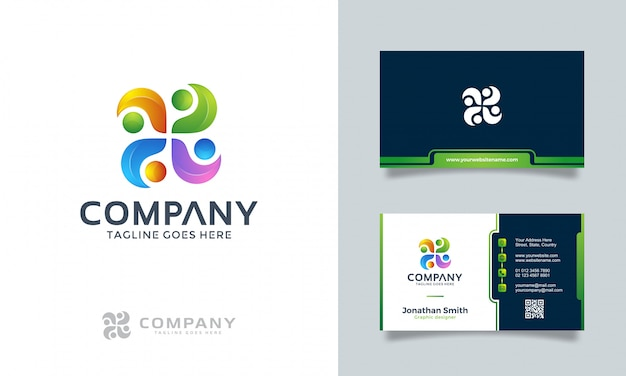 Abstraktes logo mit visitenkarte Premium Vektoren