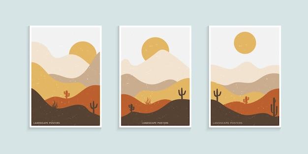 Abstraktes minimalistisches landschaftsplakat Premium Vektoren