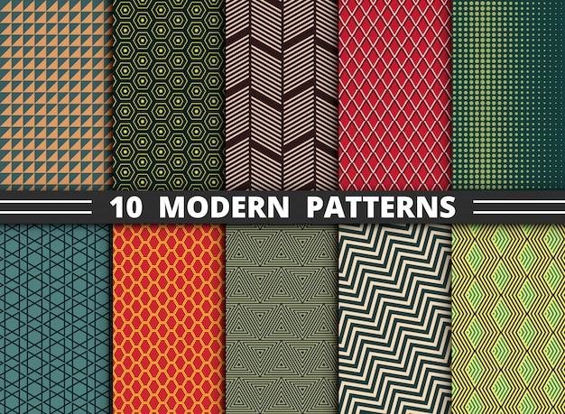 Abstraktes modernes muster des geometrischen bunten artsatzes Premium Vektoren