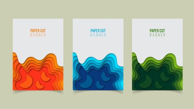 Abstraktes modernes papierschnitt-fahnendesign Premium Vektoren