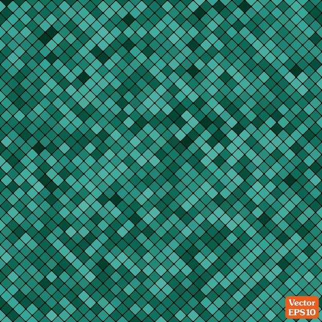Abstraktes mosaik des gitterpixelmusters und der türkisfarbenen quadrate Premium Vektoren