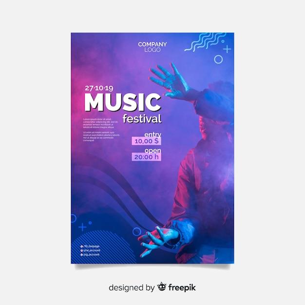 Abstraktes musikfestivalplakat mit foto Kostenlosen Vektoren
