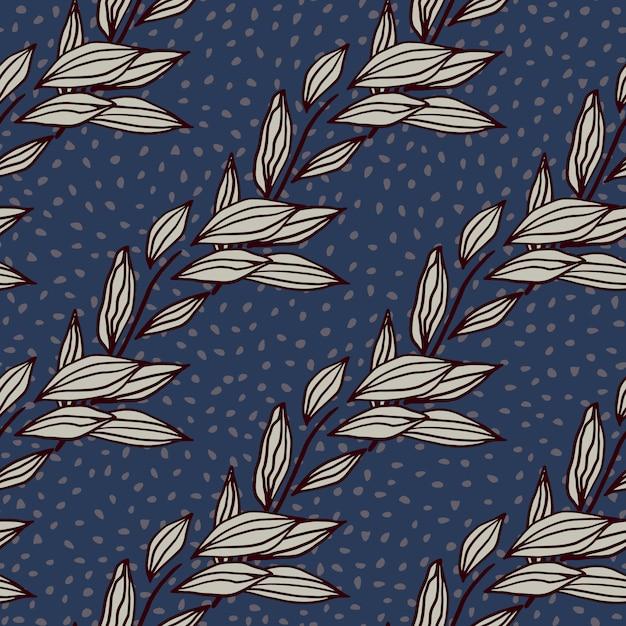 Abstraktes nahtloses muster des laubumrisses abstrakt. lila konturierte botanische verzierung auf marineblauhintergrund mit punkten. ideal für geschenkpapier, textilien, stoffdruck und tapeten. illustration. Premium Vektoren