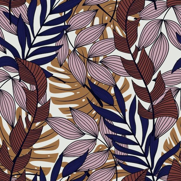 Abstraktes nahtloses muster mit bunten tropischen blättern und anlagen auf pastellhintergrund Premium Vektoren