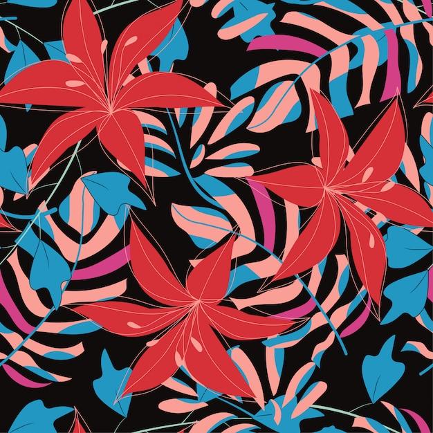 Abstraktes nahtloses muster mit bunten tropischen blättern und anlagen auf schwarzem hintergrund Premium Vektoren