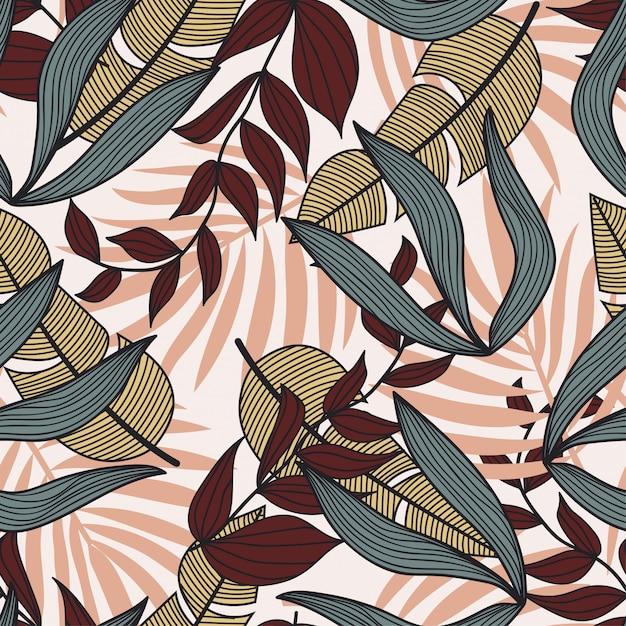 Abstraktes nahtloses muster mit bunten tropischen blättern und anlagen auf weißem hintergrund Premium Vektoren