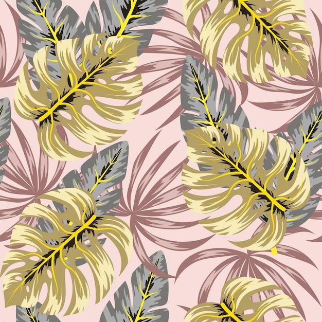 Abstraktes nahtloses muster mit tropischen pflanzen und blättern Premium Vektoren