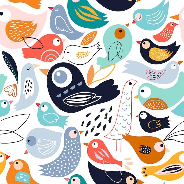Abstraktes nahtloses muster mit verschiedenen vögeln Premium Vektoren