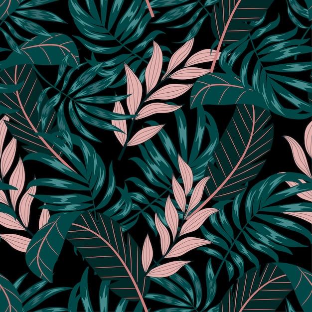 Abstraktes nahtloses tropisches muster mit grünen und rosa blättern und pflanzen Premium Vektoren