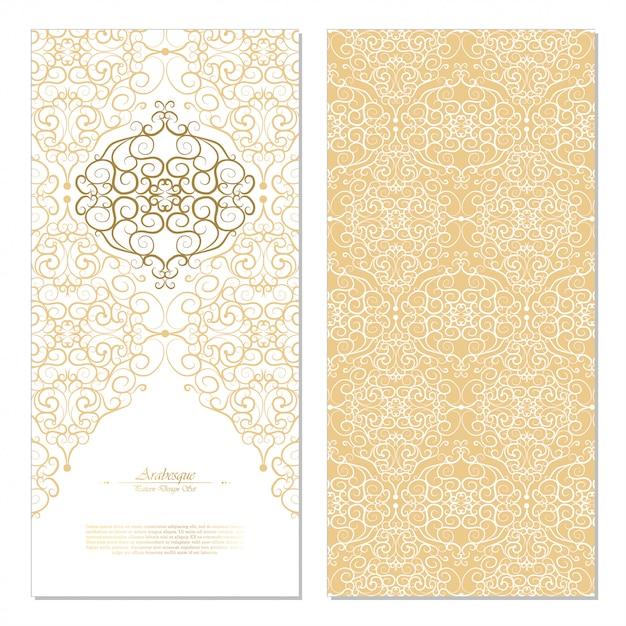 Abstraktes östliches elementweiß der arabeske und goldhintergrundkarte Premium Vektoren