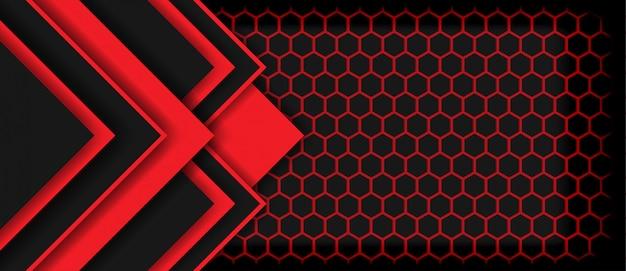 Abstraktes pfeilschwarzes des roten lichtes mit futuristischem technologieluxushintergrund des hexagons Premium Vektoren