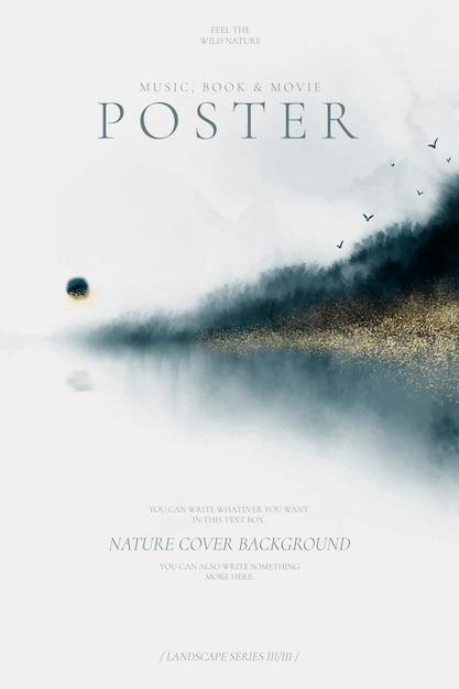 Abstraktes plakat mit schöner aquarelllandschaft Kostenlosen Vektoren