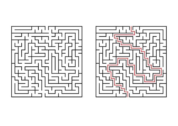 Abstraktes quadratisches labyrinth. Premium Vektoren