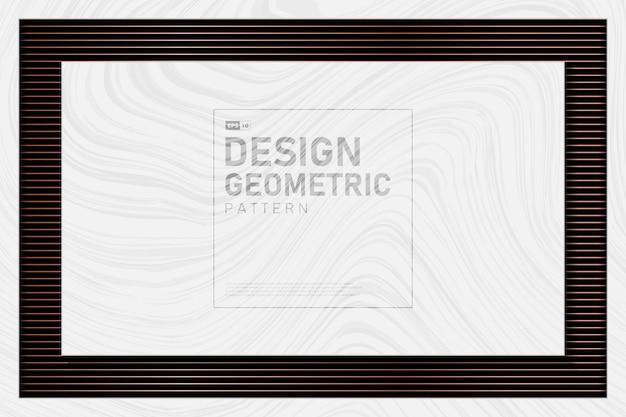 Abstraktes roségoldmetallisches linienmuster mit weißem marmorhintergrund. Premium Vektoren