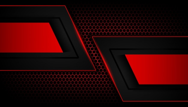 Abstraktes rotes licht auf hexagondunkelheitshintergrund Premium Vektoren