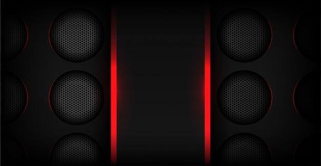 Abstraktes rotes licht mit dunklem metallischem technologiehintergrund Premium Vektoren
