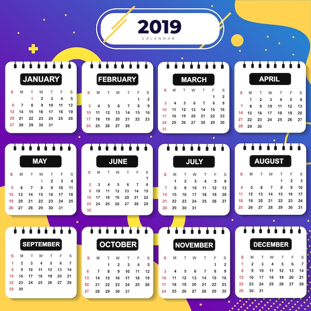 Abstraktes schablonen-kalender-2019 thema Premium Vektoren