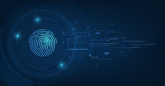 Abstraktes sicherheitssystemkonzept mit fingerabdruck auf technologiehintergrund. Premium Vektoren