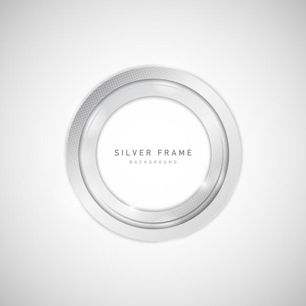 Abstraktes silbernes metall des kreisrahmens mit halbton- und blendelement. Premium Vektoren