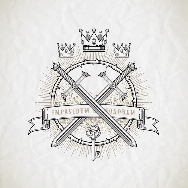 Abstraktes tätowierungsstil-linienkunstemblem mit heraldischen und ritterlichen elementen - illustration Premium Vektoren