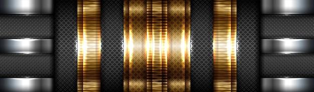 Abstraktes technisches farbverlauf-mattgold mit schwarzem hintergrund der materialschicht Premium Vektoren