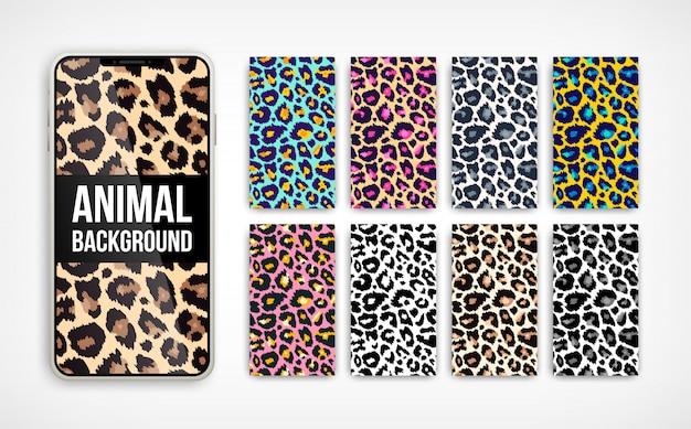 Abstraktes vertikales hintergrundset des trendigen leoparden. hand gezeichnete modische wilde tierfarbtextur auf smartphonebildschirmsammlung für social media banner, cover, telefontapete. illustration Premium Vektoren