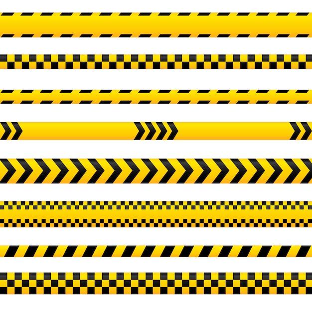 Abstraktes vorsichtband, gelbe gefahrenlinien leeren sich in den verschiedenen arten. könnte für polizei, unfall, als absperrschild verwendet werden. bänder-auflistung. Premium Vektoren