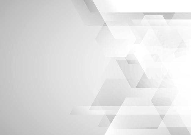 Abstraktes weißes und graues geometrisches sechseck Premium Vektoren