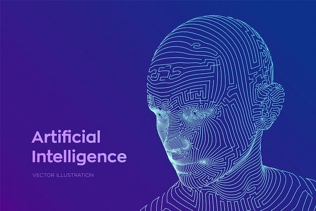 Abstraktes wireframe digitales menschliches gesicht. menschlicher kopf in der interpretation des digitalen computers des roboters Premium Vektoren