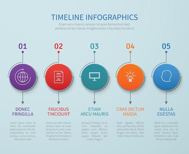 Abstraktes zeitachsenvektor infografiken mit geschäftsprozessschritten Premium Vektoren