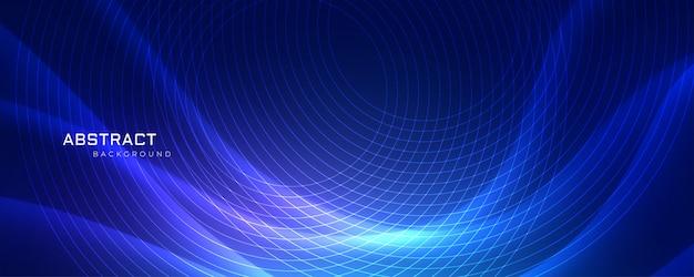 Abstrract blauer wellenförmiger hintergrund mit kreislinien Kostenlosen Vektoren