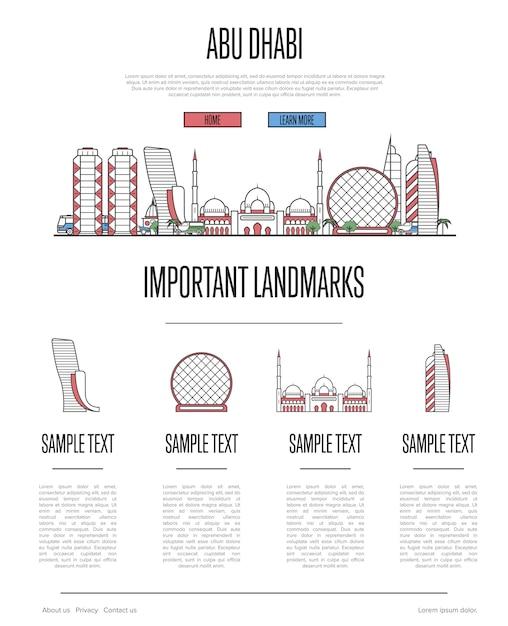 Abu dhabi reisen infografiken im linearen stil Premium Vektoren