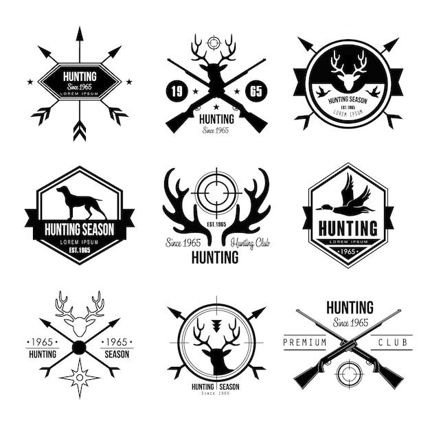 Abzeichen etiketten logo design elemente jagd Premium Vektoren
