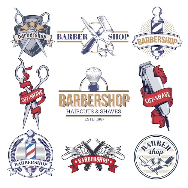 Abzeichen, logos mit friseursalon. Kostenlosen Vektoren