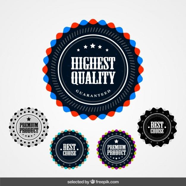 Abzeichen sammlung von premium-produkten Kostenlosen Vektoren