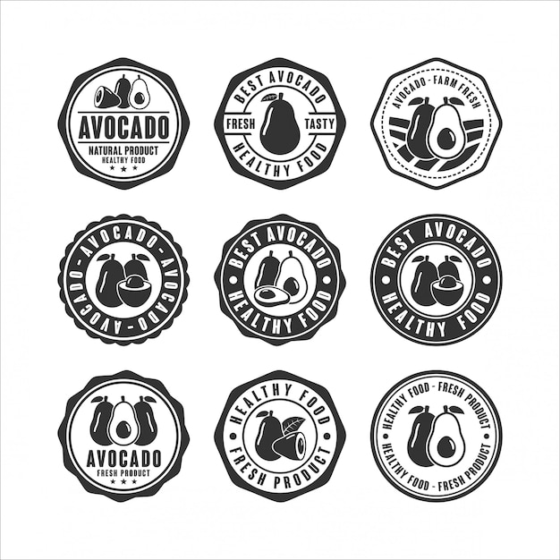 Abzeichen stempel avocado design-sammlung Premium Vektoren