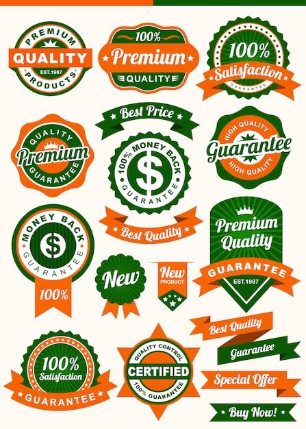 Abzeichen und farbband Premium Vektoren
