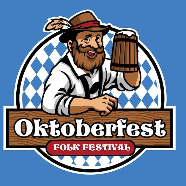 Abzeichen von oktoberfest mit altem mann und bier Premium Vektoren