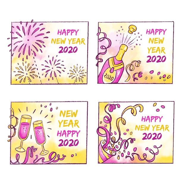 Abzeichensammlung des neuen jahres 2020 des aquarells Kostenlosen Vektoren