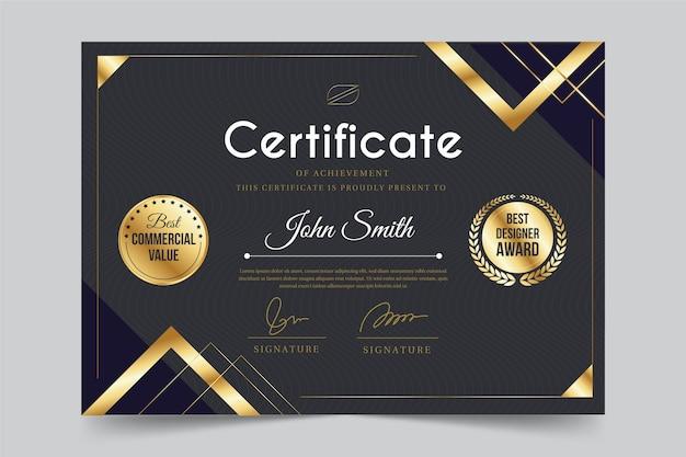 Achievement certificate template design Kostenlosen Vektoren