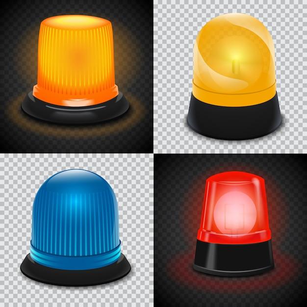 Achtung blinker-icon-set Premium Vektoren