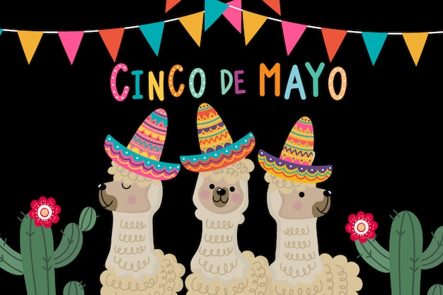 Acinco de mayo grußkarte mit niedlichem alpaka und kaktus Premium Vektoren