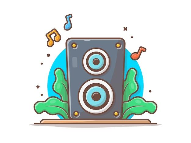 Acoustic sound system lautsprecher mit noten von musik-symbol. musik-ton-audioweiß lokalisiert Premium Vektoren