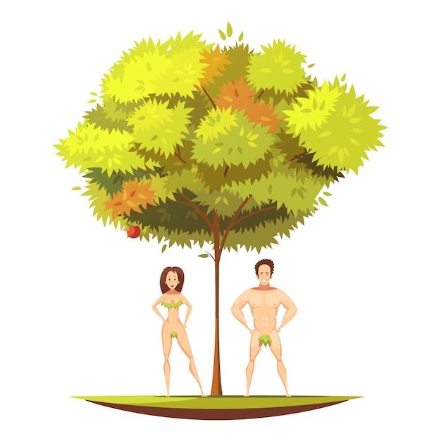 Adam und vorabend in eden-garten ander apfelbaum mit verbotener frucht des wissenskarikatur-vektor illust Kostenlosen Vektoren