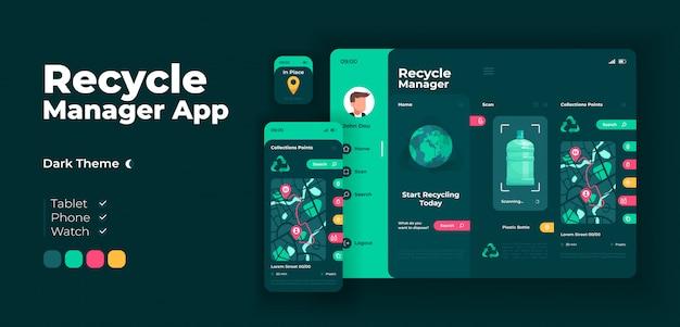 Adaptive design-vorlage für den entsorgungsmanager-app-bildschirm Premium Vektoren