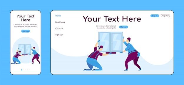Adaptive landingpage-farbvorlage für die fensterinstallation. handyworkers mobile und pc homepage layout. hausverbesserung eine seite website ui. home repariert webseite plattformübergreifend Premium Vektoren