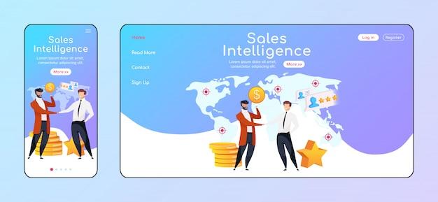 Adaptive landingpage-farbvorlage für sales intelligence. geschäftsleute geben hand- und pc-homepage-layout die hand. profit vergrößert die benutzeroberfläche einer website. plattformübergreifende partnerschaftswebseite Premium Vektoren