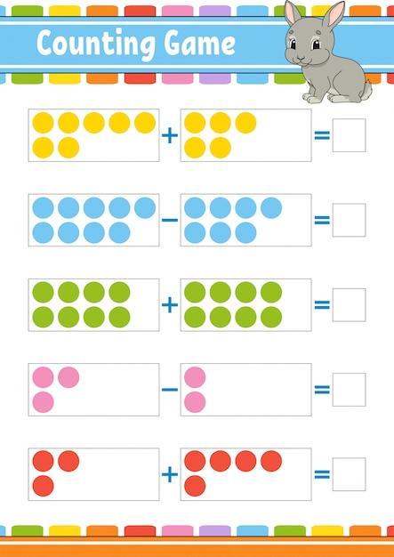 Additions- und subtraktionsspiel für kinder Premium Vektoren
