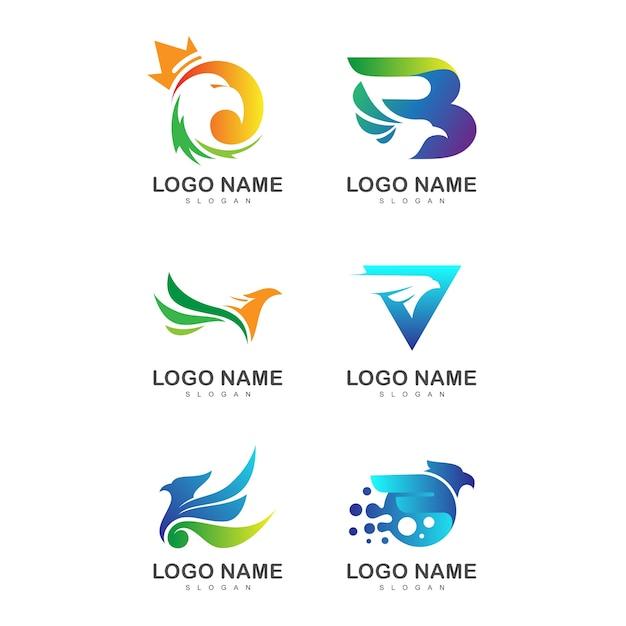 Adler-logo-sammlung Premium Vektoren